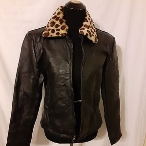 Navarre Black Leather Patchwork Jacket Size S